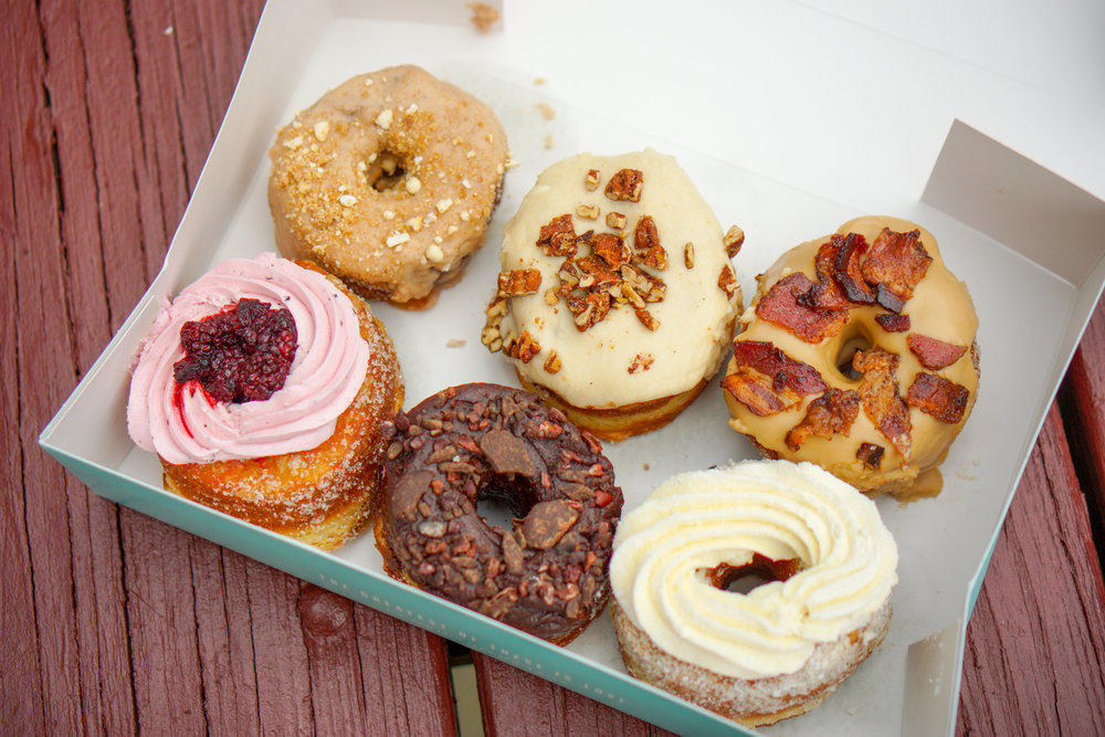 Top Row: Cinnamon Crunch, Bourbon Peach Pecan, and King Kong. Bottom Row: Blackberry Hibiscus, Life by Chocolate, Vanilla Cream.