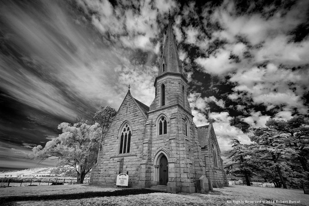The Ross Uniting Church, Infrared photograph by Robert Burcul