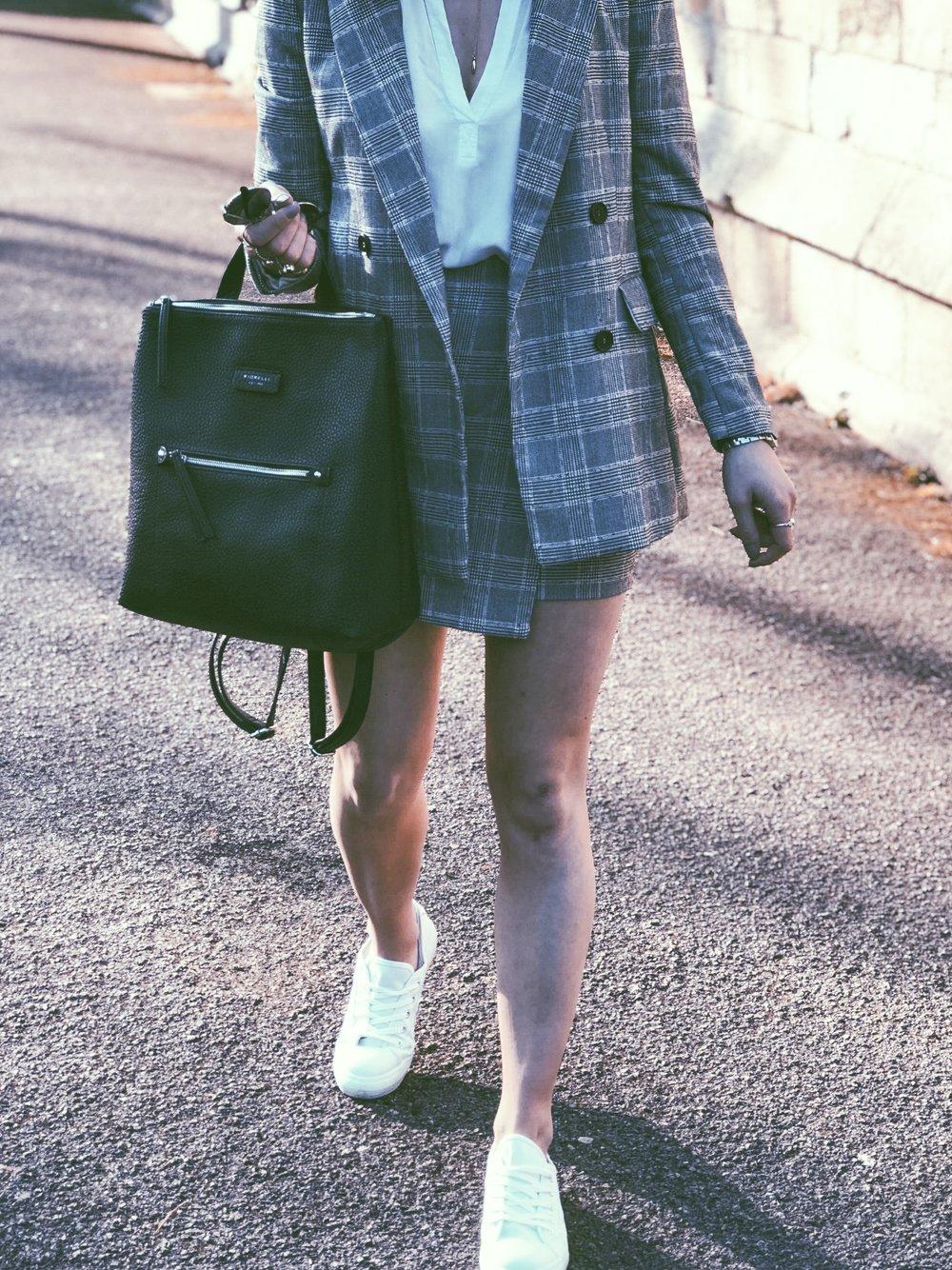 Co-ord: H&M, Blouse: Velvet, Bag: Fiorelli, Trainer: Converse