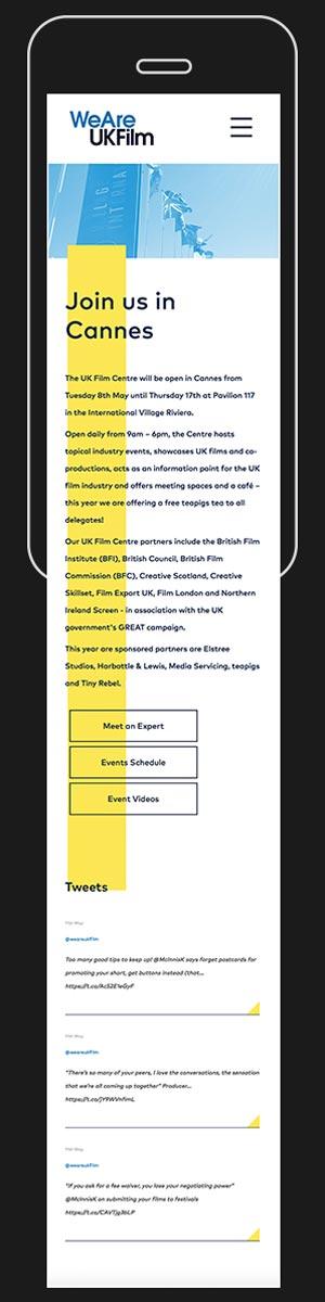 Mobile Site / Online / Digital / Branding / We Are UK Film