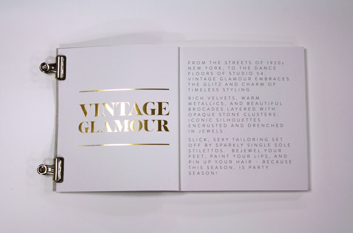 There was no campaign imagery available so gold foil was used throughout the book to highlight the trend names.
