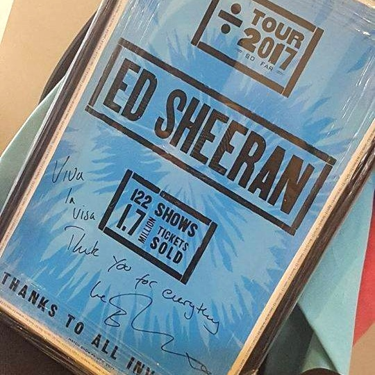 We get to work with some of the biggest names in the entertainment industry! - As a company of music lovers, we are often fans of our clients. It's great to know that we are playing a part in allowing our favourite artists to maximise the full potential of their careers.This is a gift from Ed Sheeran's dedicated team in 2017.