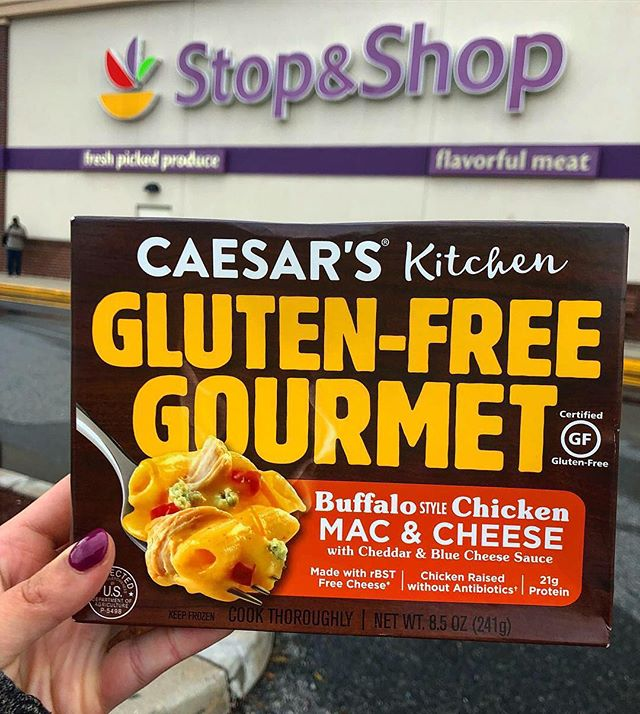 Anyone else get as excited as I do over finding cool new products at the grocery store?! • My latest @stopandshop find was this gluten-free buffalo chicken mac & cheese made by @caesars_kitchen! This meal was so tasty and I can't wait to try some more of their Gluten-Free Gourmet creations😋 • Have you tried any of these Caesar's Kitchen GF meals? Which one is your favorite?!