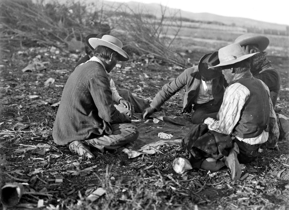 Paiute Indian men playing cards and gambling - Wadsworth, Nevada (1912).jpg