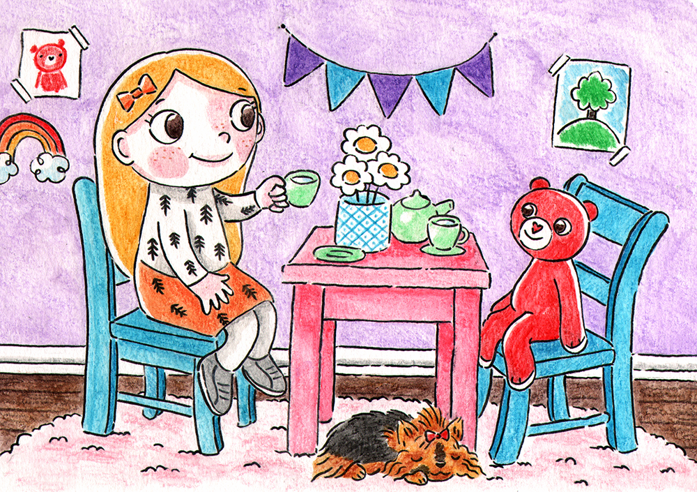 Tea Time with Friends  Honey having a cup of tea with her best friend, Benno the bear. Joining her is sleeping Donut, her Yorkshire Terrier. Happy Hills, watercolor pencils, 2018.