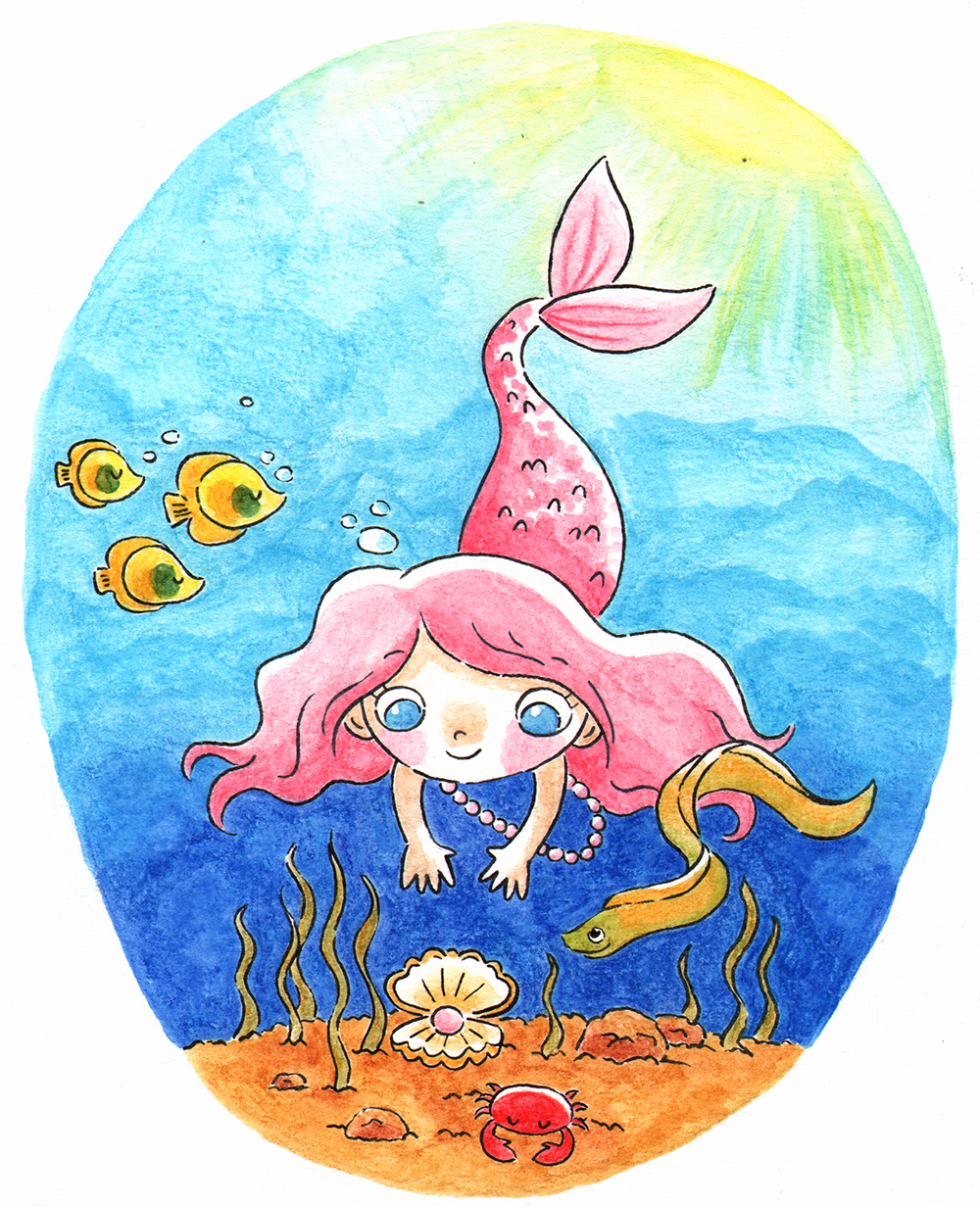 Finding Treasure  Pearl the mermaid finds a pearl. Watercolor pencils, 2018.