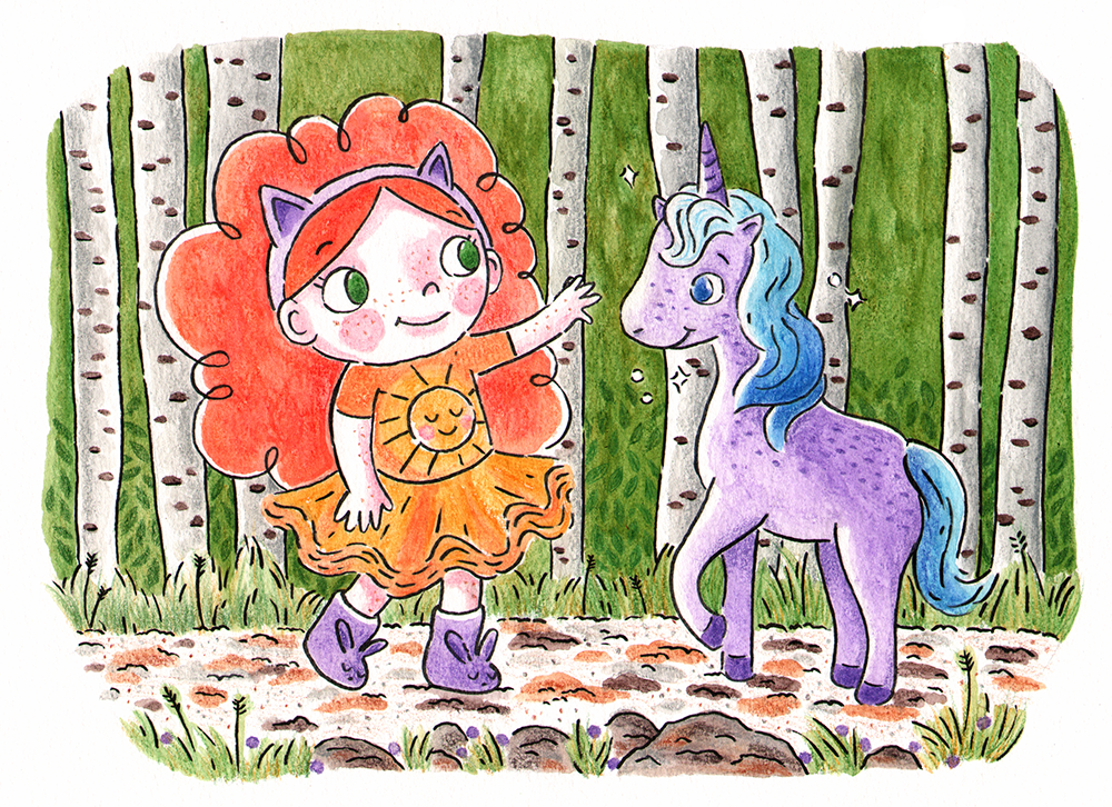 Girl Meets Unicorn  Ursa meeting her imaginary friend, Derwin the unicorn, for the first time in the Birchwood forest. Happy Hills, watercolor pencils, 2018.