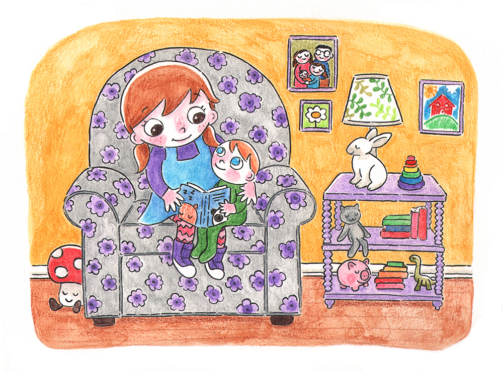 Storytime  Yvette reads a story to her little brother, Yuki.  Happy Hills, watercolor pencils, 2018.