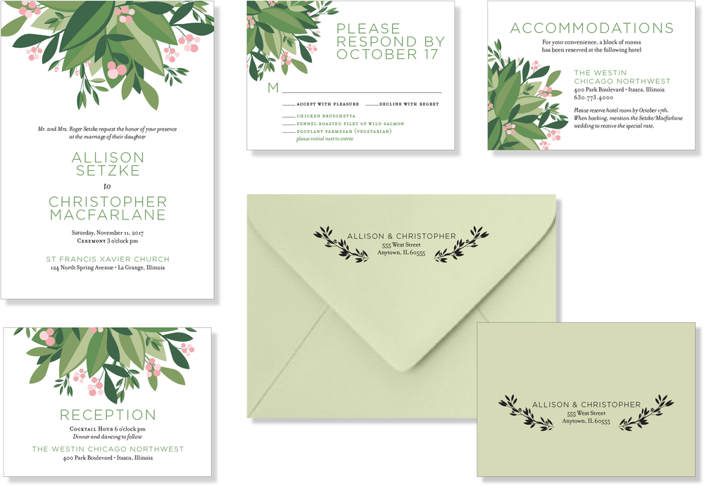 Allison and Christopher wanted something modern, simple, and classic for their wedding.  Foliage created in Adobe Illustrator, text set in Adobe InDesign.