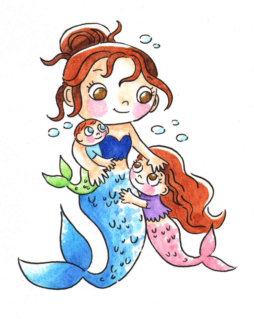 Mer-mom   This mer-mom is a self portrait of me and my two littles as mermaids. Isn't is cute?. Watercolor pencils, 2018.