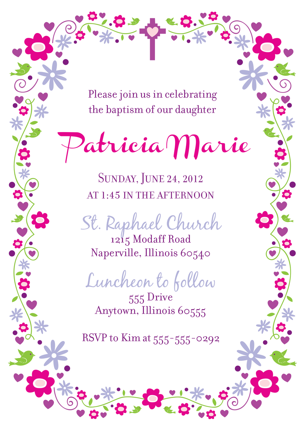 Something fun and feminine for a sweet baby girl's baptism.  Created in Adobe Illustrator.