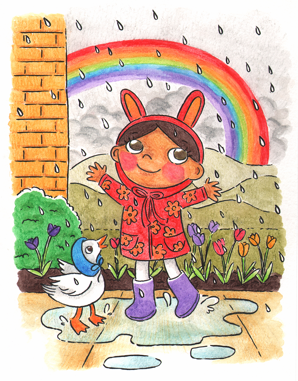 Playing in the Rain  Vida and her pet duck, Sunny, play in the rain after a storm. Watercolor pencils, 2018.