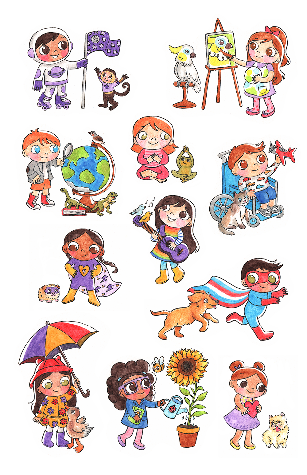 11 of the 29 happy hills kids! From left to right, top to bottom: Abe and his Capuchin monkey, Neptune Cricket and her cockatoo, Rockwell Desmond and his finch, Earhart Queenie and her frog, Fritzi Graham and his Ragdoll cat, Herbie Rainbow and her gerbil, Ororo Jin and her songbirds, Mavis & Melody Ellis and his Golden Retriever dog, Clark Vida and her duck, Sunny Bonnie and her bumblebee, Hydrangea (Hydie) Lulu and her Pomeranian dog, Valentine  Watercolor pencils, 2018.