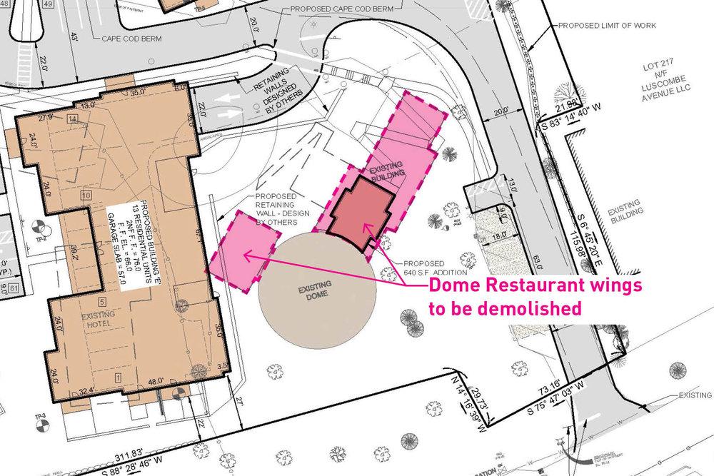 Proposed site plan showing demolition