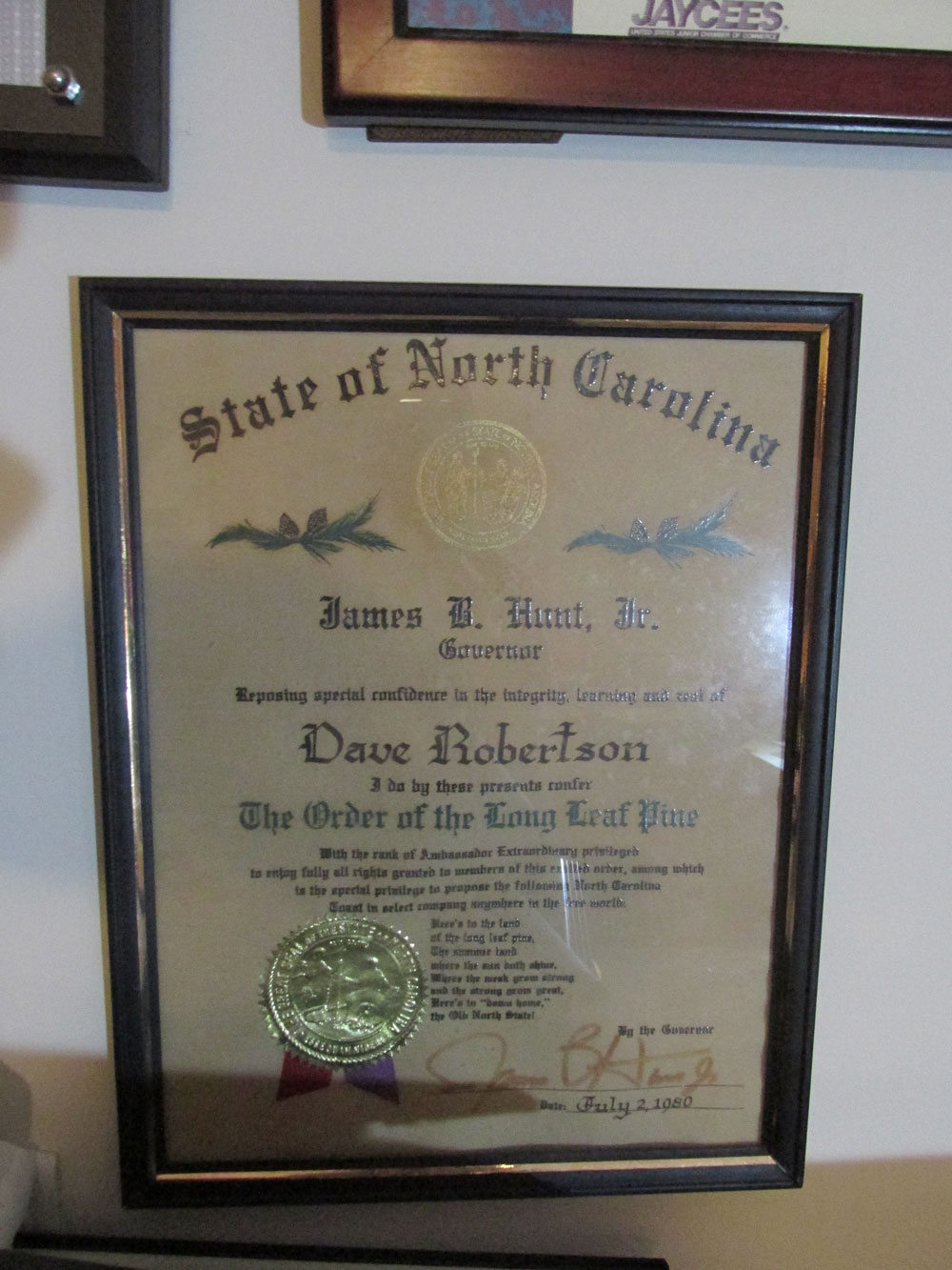 Awarded Order of the Long Leaf Pine  by Gov. Jim Hunt in 1980 for extensive volunteer work helping needy  children