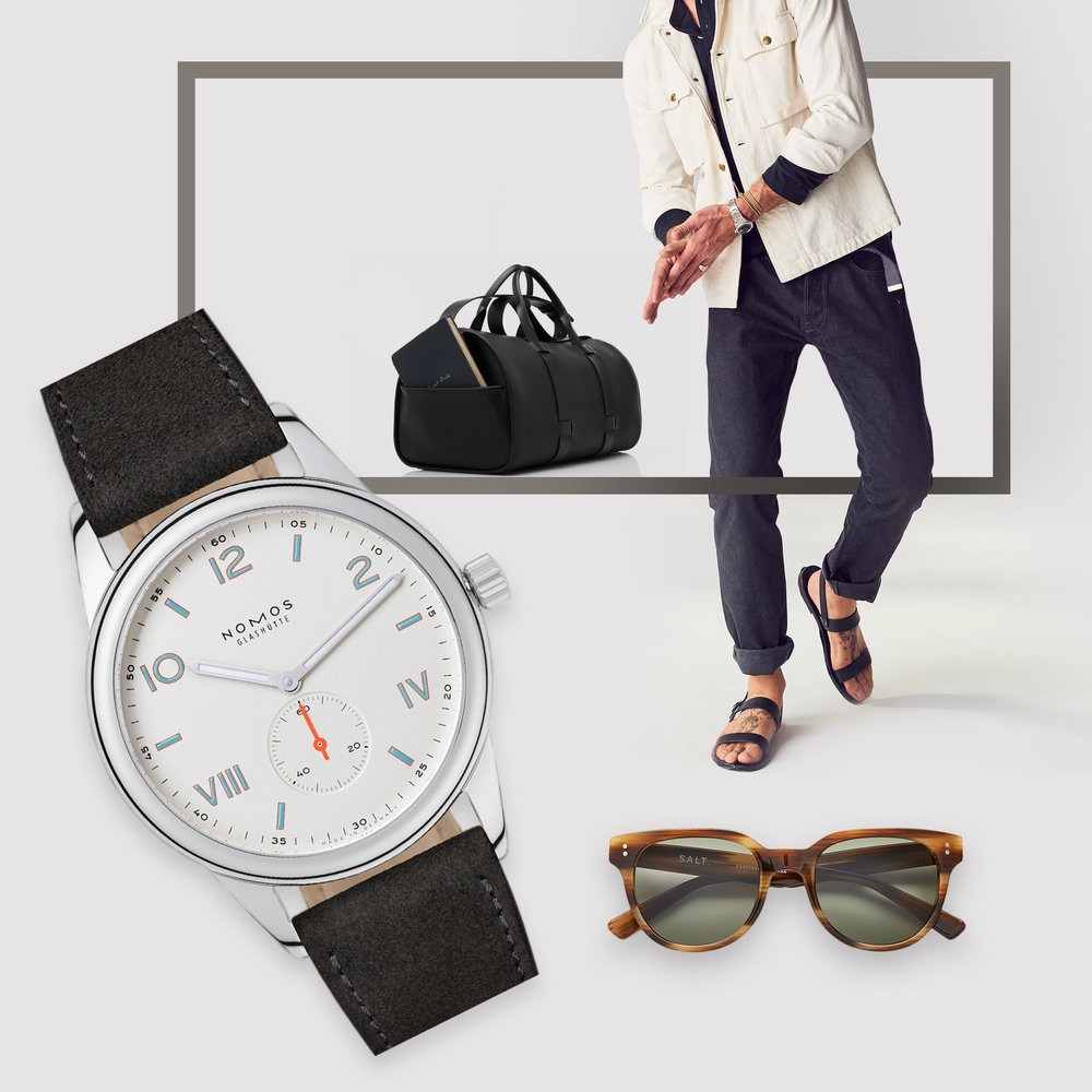 A sporty NOMOS Glashütte Club compliments rugged staples by young label Rivay. Add a classic pair of shades and you're ready for an upstate summer. - Clockwise from top left: Troubadour waterproof leather weekender, $1,508; Sunspel camp shirt, $165; SALT polarized sunglasses, $425; NOMOS Glashütte Club 38 Campus watch, $1,650.