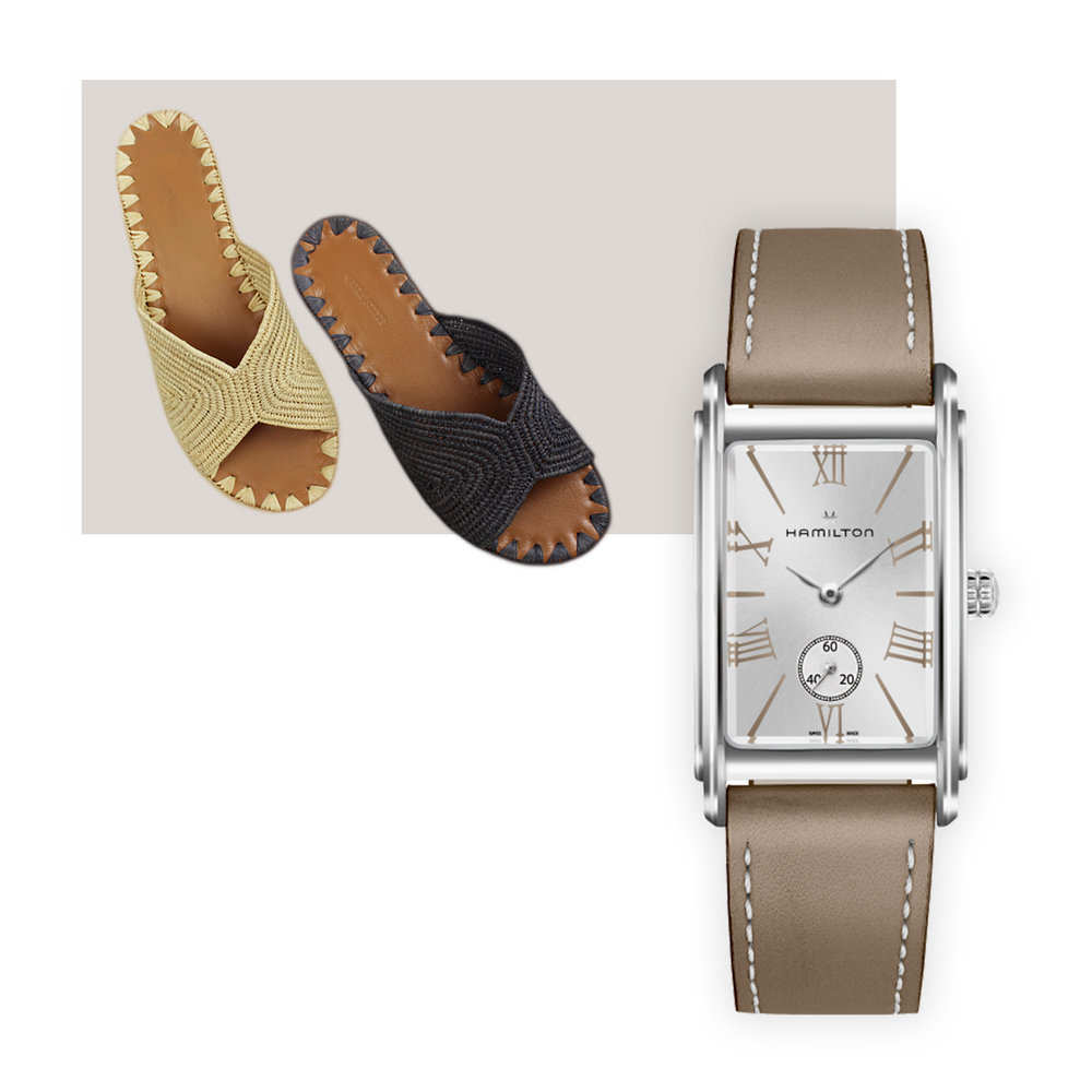 Carrie Forbes Salon Sandals & Hamilton Ardmore Quartz Watch - While you most likely can't wear these sandals year round (unless, perhaps, you're reading this from Florida,) you will be able to pull them out year and year again – the leather soles just get more supple with wear. Pair with a leather-strapped classic from American brand Hamilton – the Ardmore, first introduced in 1937, boasts slender Roman numerals and a classic soft cognac strap that will accent a summer dress as well as it will fall's muted work wardrobe.Carrie Forbes raffia and leather sandals, $300, carrieforbesinc.com, Hamilton Ardmore watch, $445; troverie.com