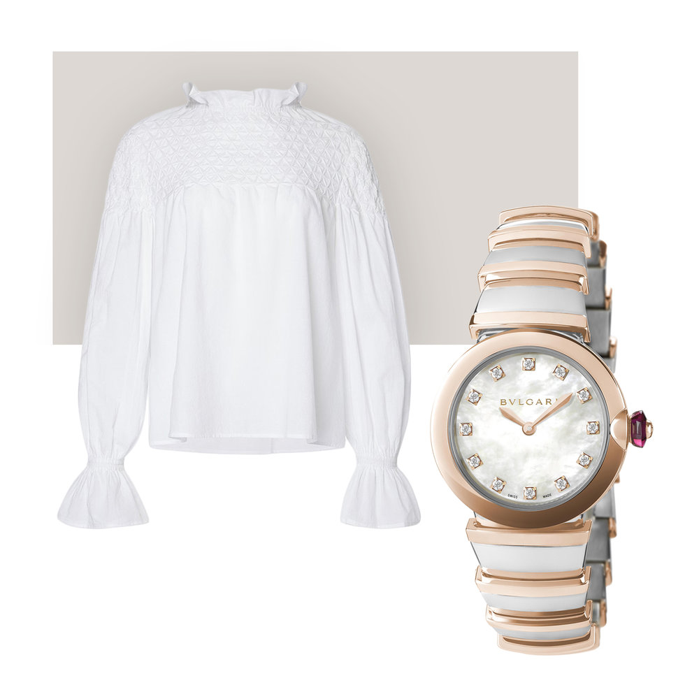 Merlette Blouse & Bulgari Lucea Watch - Humble cotton gets high treatment from Merlette: each of label's romantic dresses and blouses is thoughtfully crafted with delicate embroidery and draping. While this blouse is light enough for August weather, it will surely be a staple year round. We love the idea of a hint of glamour peeking out from under the floaty cuff, in the form of Bulgari's stunning Lucea watch – complete with a contrasting steel-and-gold bracelet and a cabochon ruby crown.Merlette Majorelle cotton blouse, $380; merlettenyc.com, Bulgari Lucea watch, $9,650; troverie.com