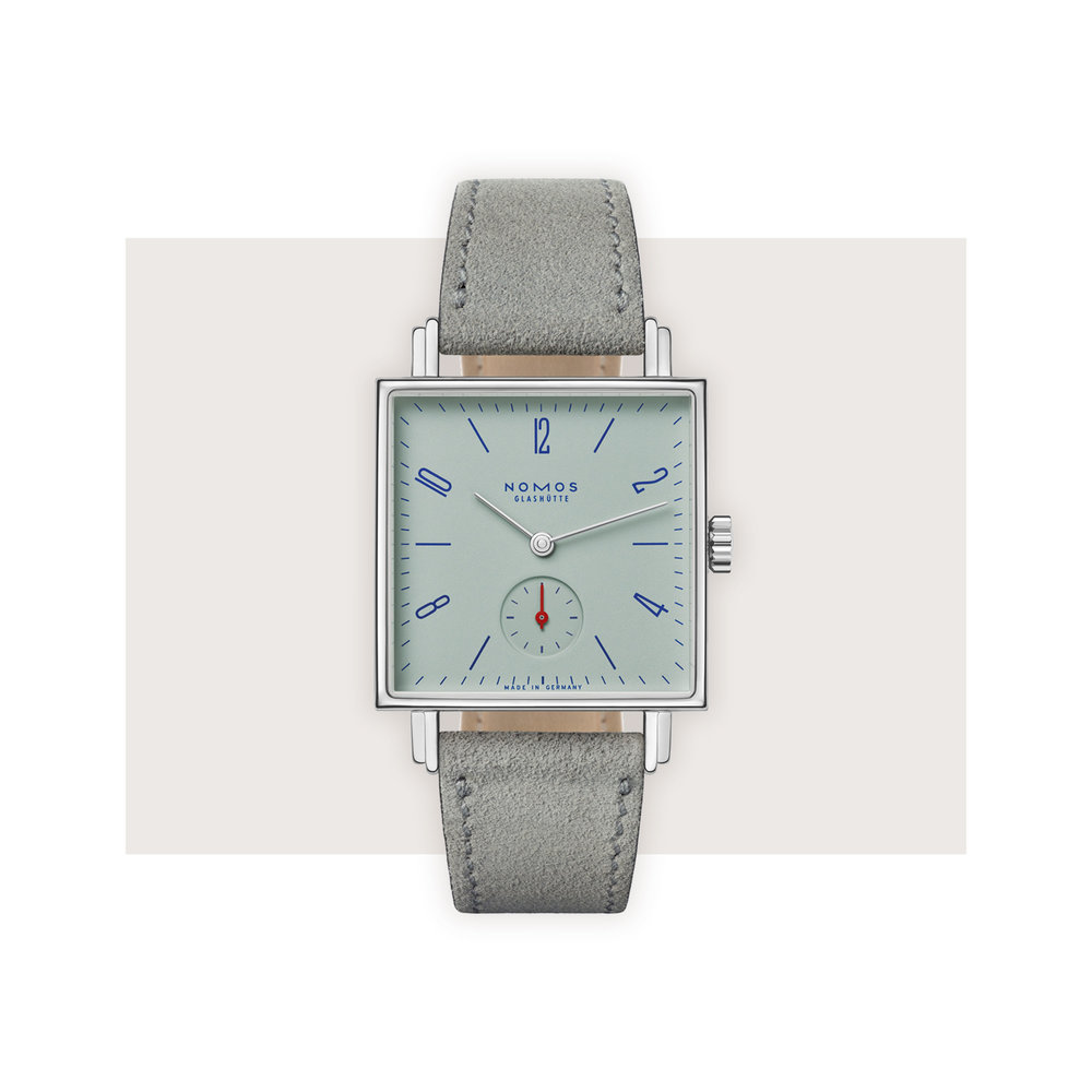 Nomos Glashütte - Tetra Matcha might not sound like the average watch – and it isn't. A soft green inspired by the very of-the-moment milky Japanese tea is paired with a slim, equally modern square case.Nomos Glashütte Tetra Matcha, $2,080; troverie.com