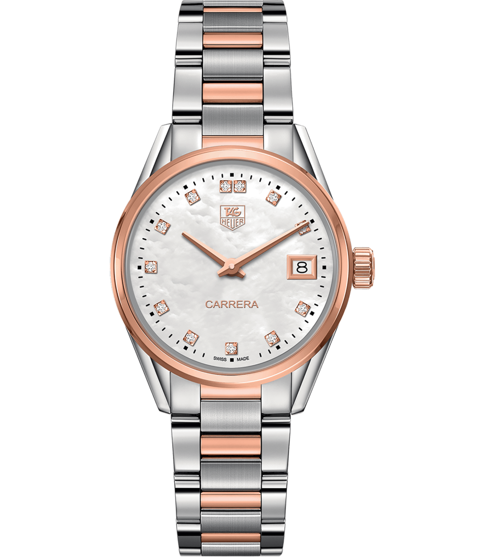 Carrera - Rose gold & mother of pearl soften classic steel on this ladies' Carrera, featuring 12 light-catching diamonds. A clean, legible dial, date function, and a thin case make this a foolproof, sure-to-please gift– or a classic watch for someone looking for an upgraded wardrobe staple.Carrera, $3,950; troverie.com