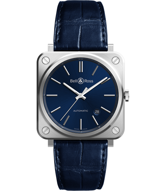 BR S-92 Blue SteelThis 39 mm satin polished stainless steel case holds an automatic movement and date functionality. An understated, legible dial and durable construction stay true to the Bell & Ross brand. - $3,220; troverie.com