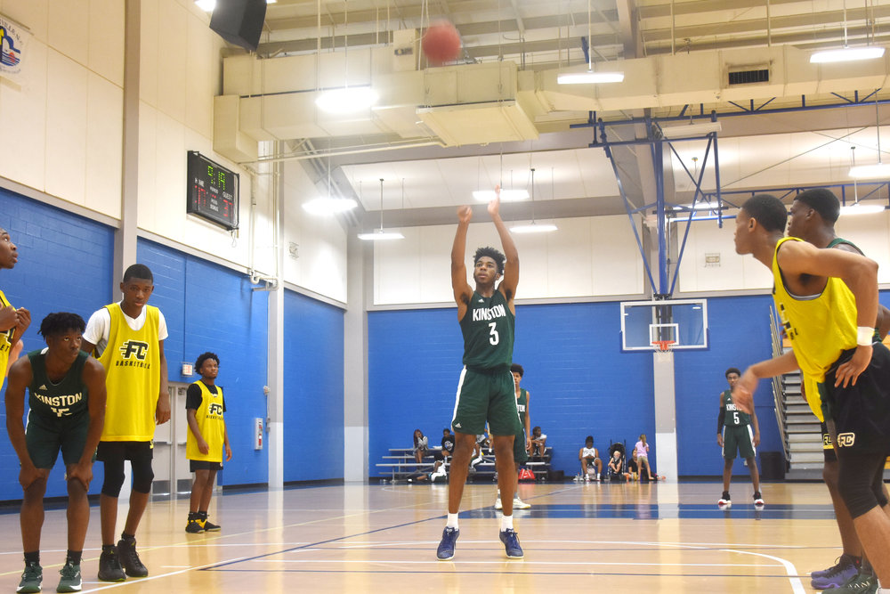 Kinston's Dontrez Styles (3) takes a free throw. Photo by Bryan Hanks / Neuse News