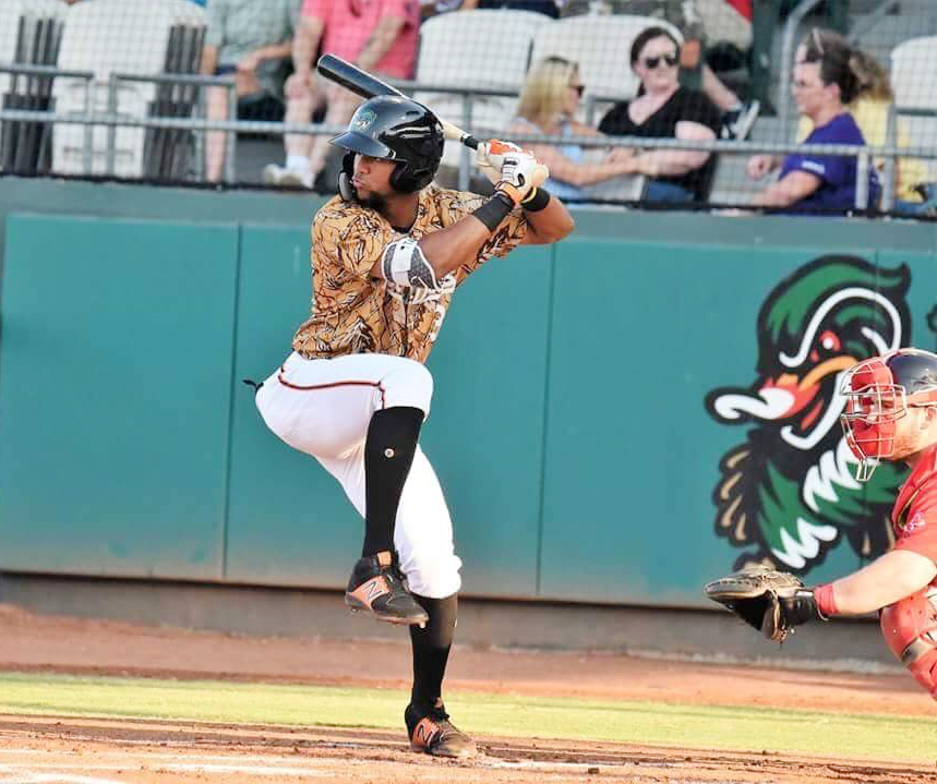 Leody Taveras prepares to swing during Monday's game for the Down East Wood Ducks. Photo by William 'Bud' Hardy / Neuse News