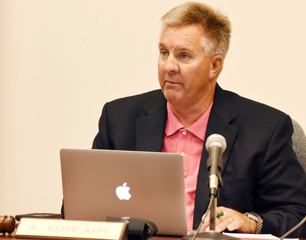 Keith King of La Grange leads the Lenoir County School Board meeting Monday night after being named to replace Jon Sargeant. Photo by Patrick Holmes / Lenoir County Public Schools