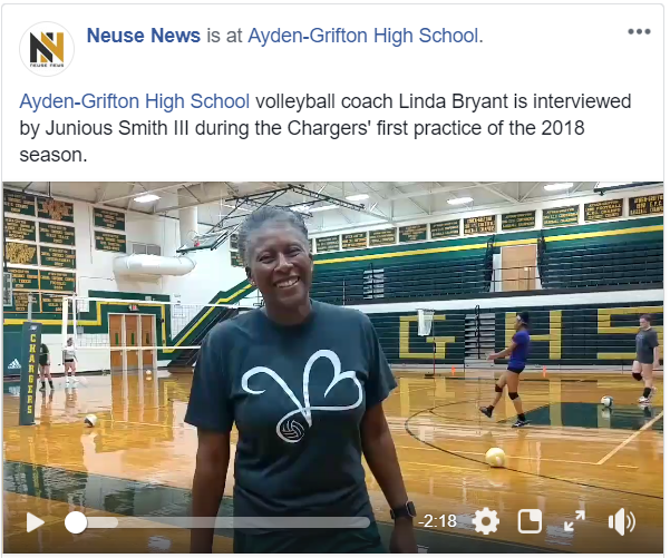 Click to watch Junious Smith III interview Ayden-Grifton volleyball coach Linda Bryant.