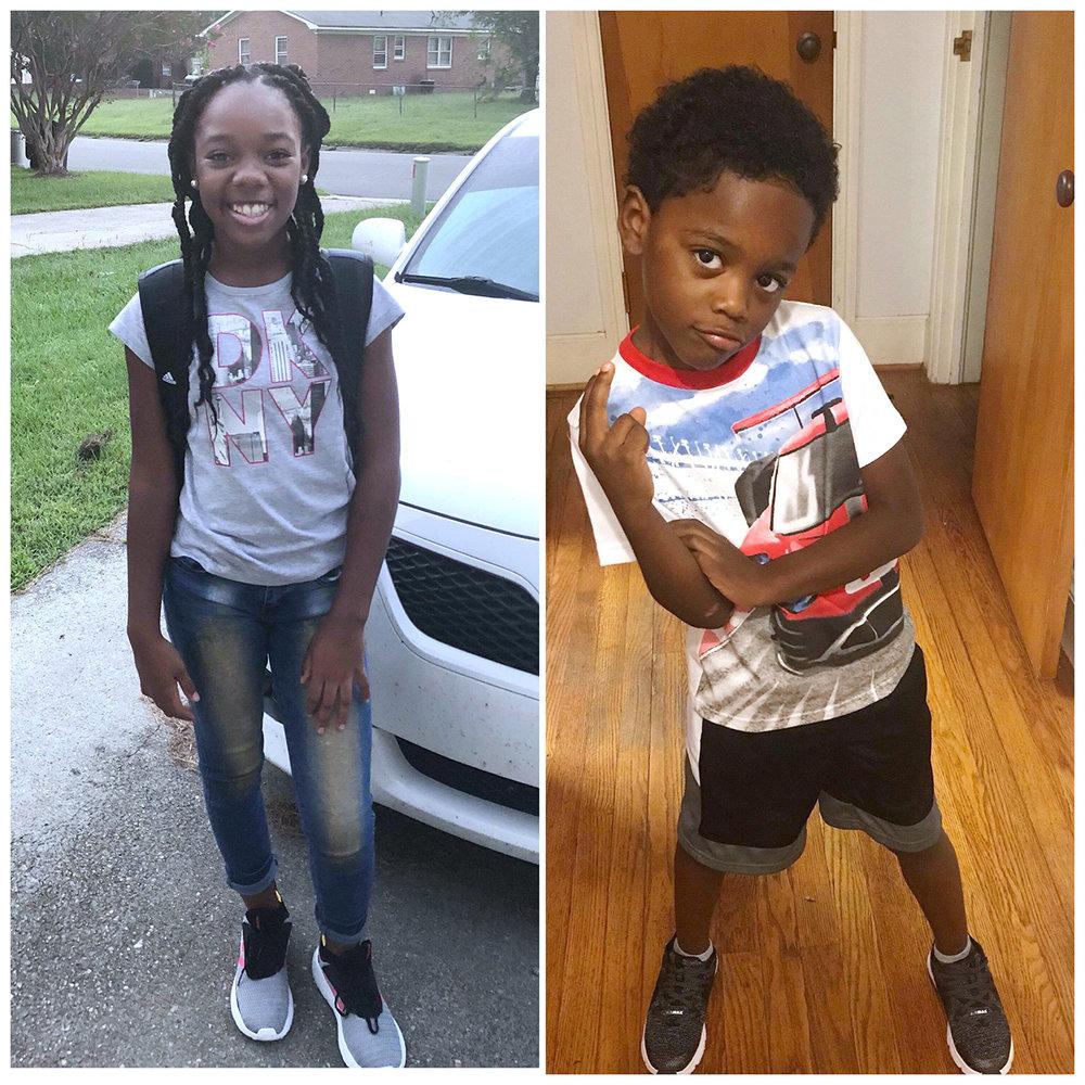 Jasmine Blackwell, left, sixth grade, Contentnea-Savannah K-8 School; Jameer Blackwell, first grade, Northeast Elementary