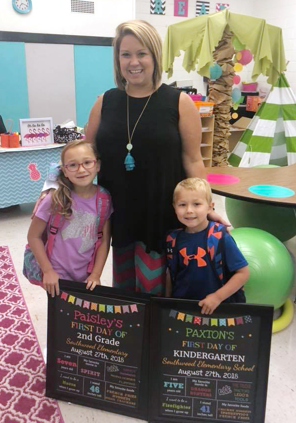 From left, Paisley Howard, second grade, Southwood Elementary School; Brittany Smith, mom and teacher at Southwood; Paxton Howard, kindergarten, Southwood