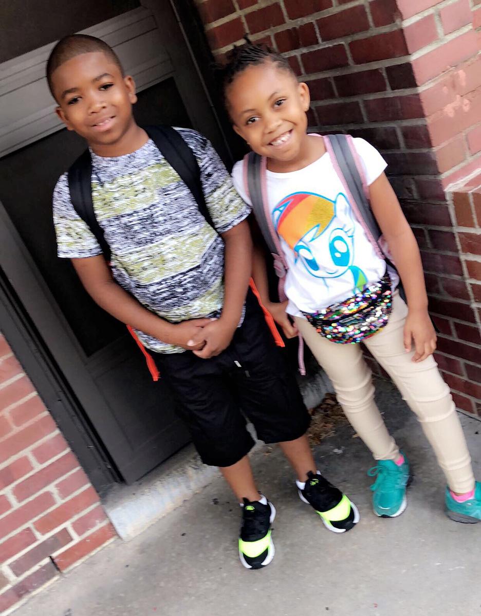 Chauncey Robinson, left, third grade, Northeast Elementary; Danasia Robinson, first grade, Northeast