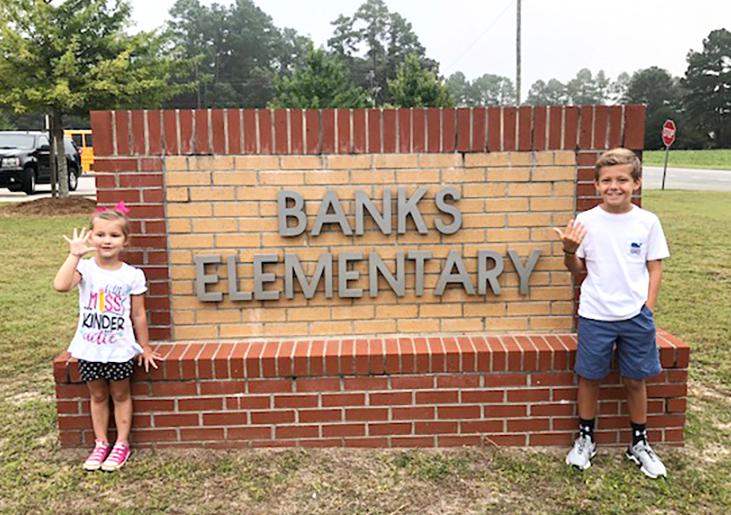 Avery Wade, left, kindergarten, Banks Elementary; Hudson Barker, fifth grade, Banks