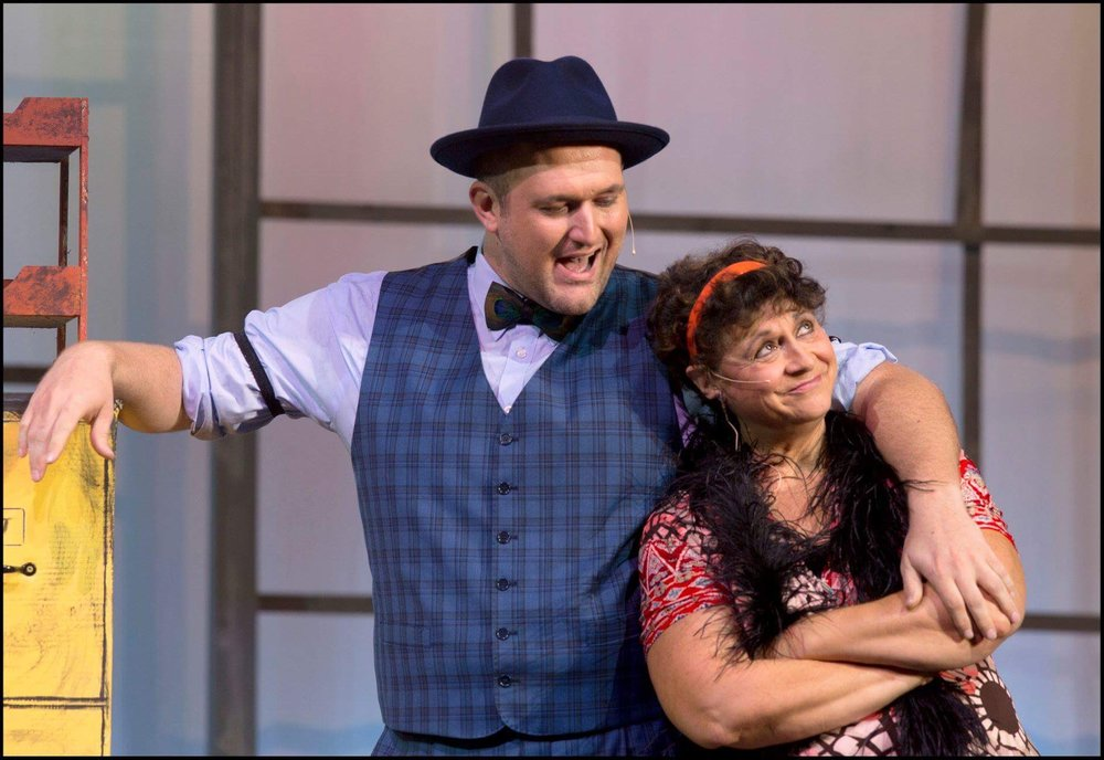 'Easy Street,' are Lincoln Manning, left, as Rooster and Suzanne Gallaher as Miss Hannigan.