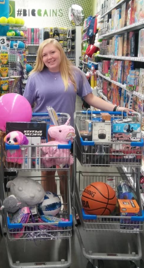 Crown Enterprises in Kinston donated $500 worth of school supplies and allowed one lucky Girl Scout, Brooke Hinson of La Grange, to shop for supplies for students at La Grange Elementary School. Submitted photo.