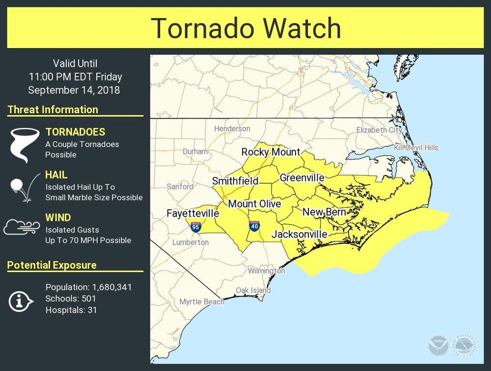 Tornado Watch issued (UPDATED at 5:09 PM 9/14)