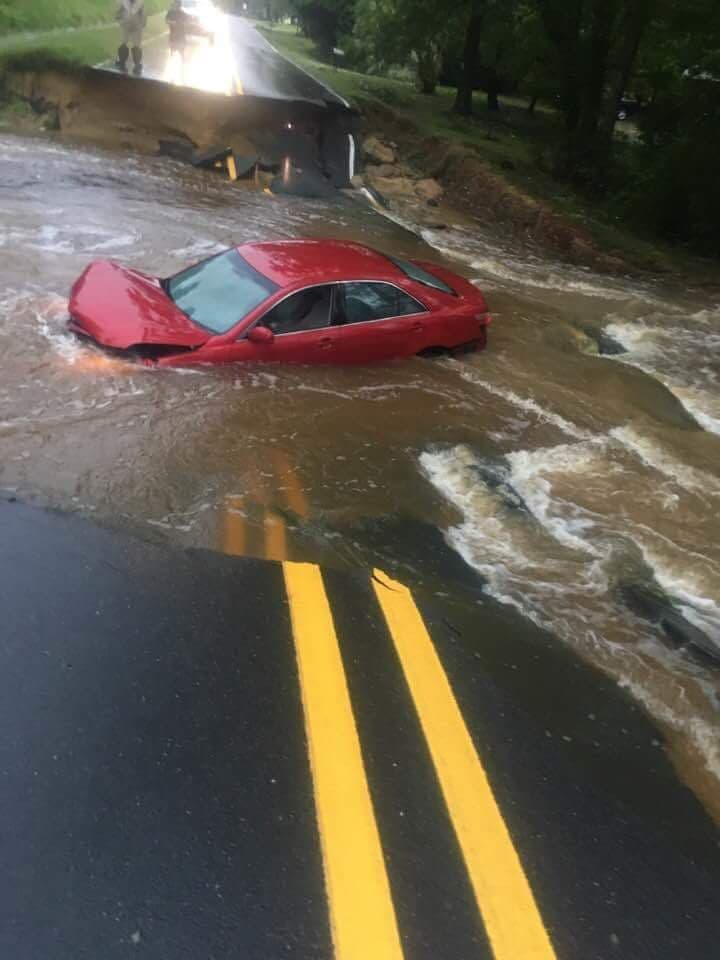 Tull's Mill Rd washed out