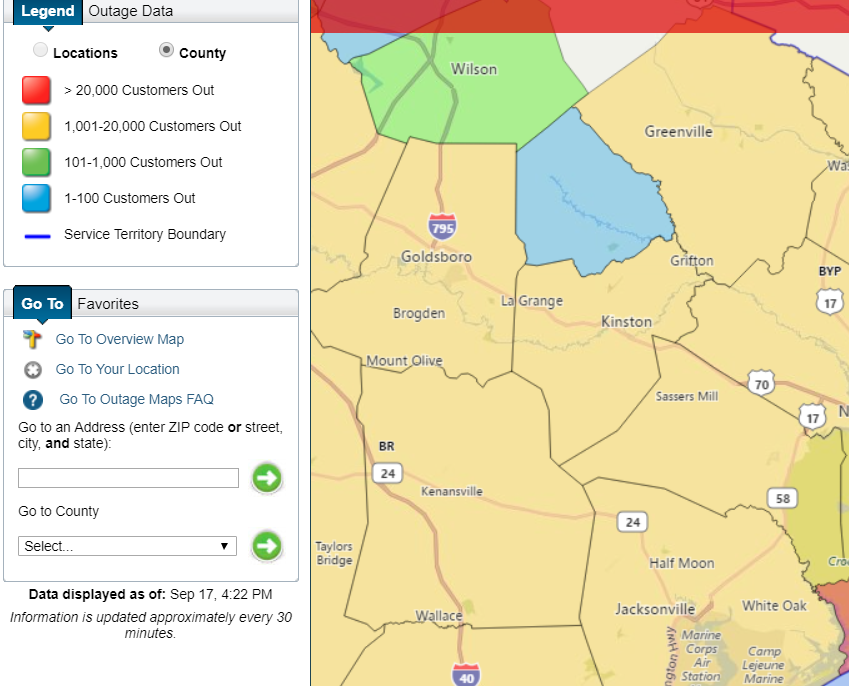 Link to power outage map:  https://outagemap.duke-energy.com/ncsc/default.html