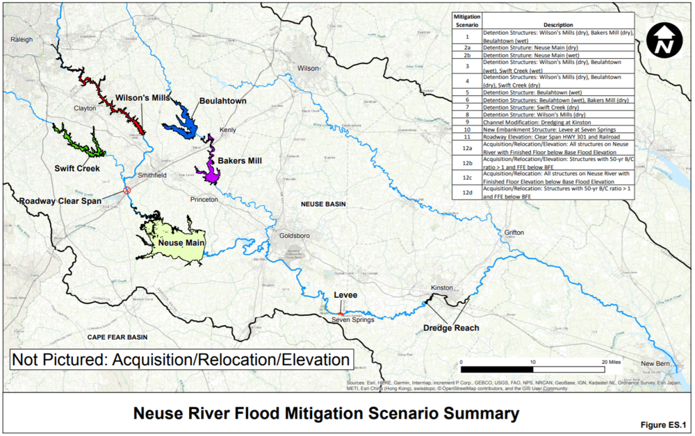 This figure shows areas upstream in the Neuse River Basin that impact Wayne, Lenoir, Pitt and Craven Counties.