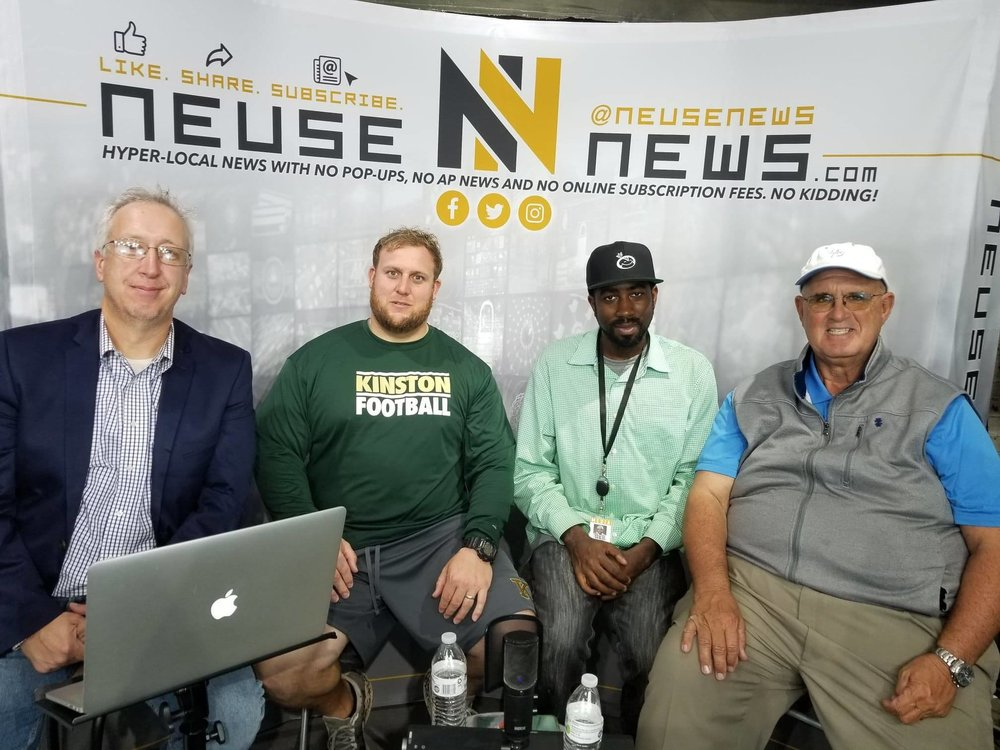 Click the image above or the Anchor.fm block below to listen to the Week 10 Post Game Show presented by Chris Humphrey Allstate, which featured the two most winningest coaches in Lenoir County history: Jimmy Smith and Ryan Gieselman.