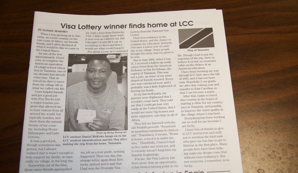 Daniel Makoko wrote an article The Javelin, Lenoir Community College's student newspaper in 2005 outlining his vision and plans for his village in Tanzania.