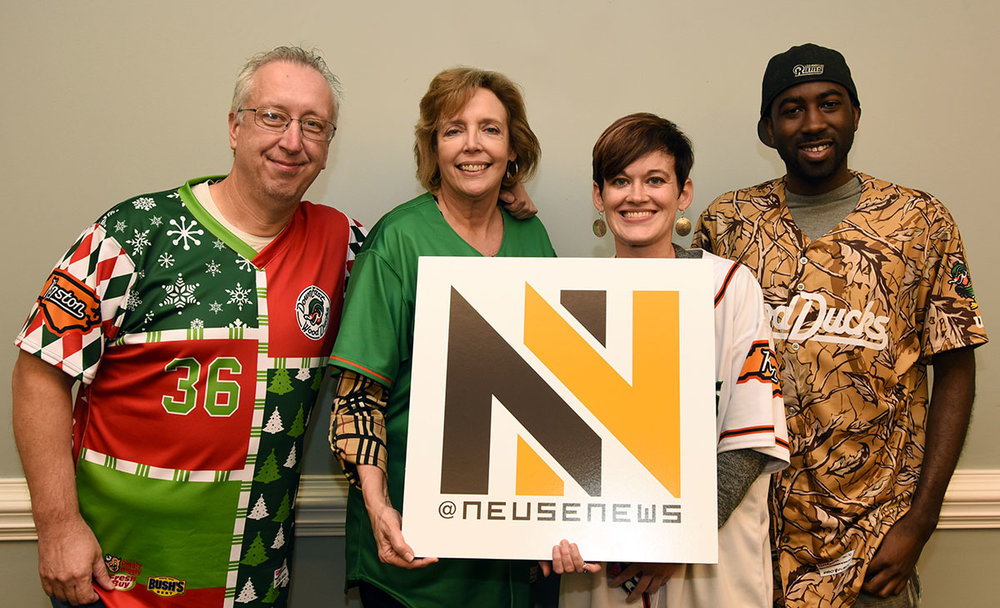 The Neuse News team finished third in the 2018 Adult Spelling Bee. Members were, from left, Bryan Hanks, Barbara LaRoque, Catherine Hardee and Junious Smith.