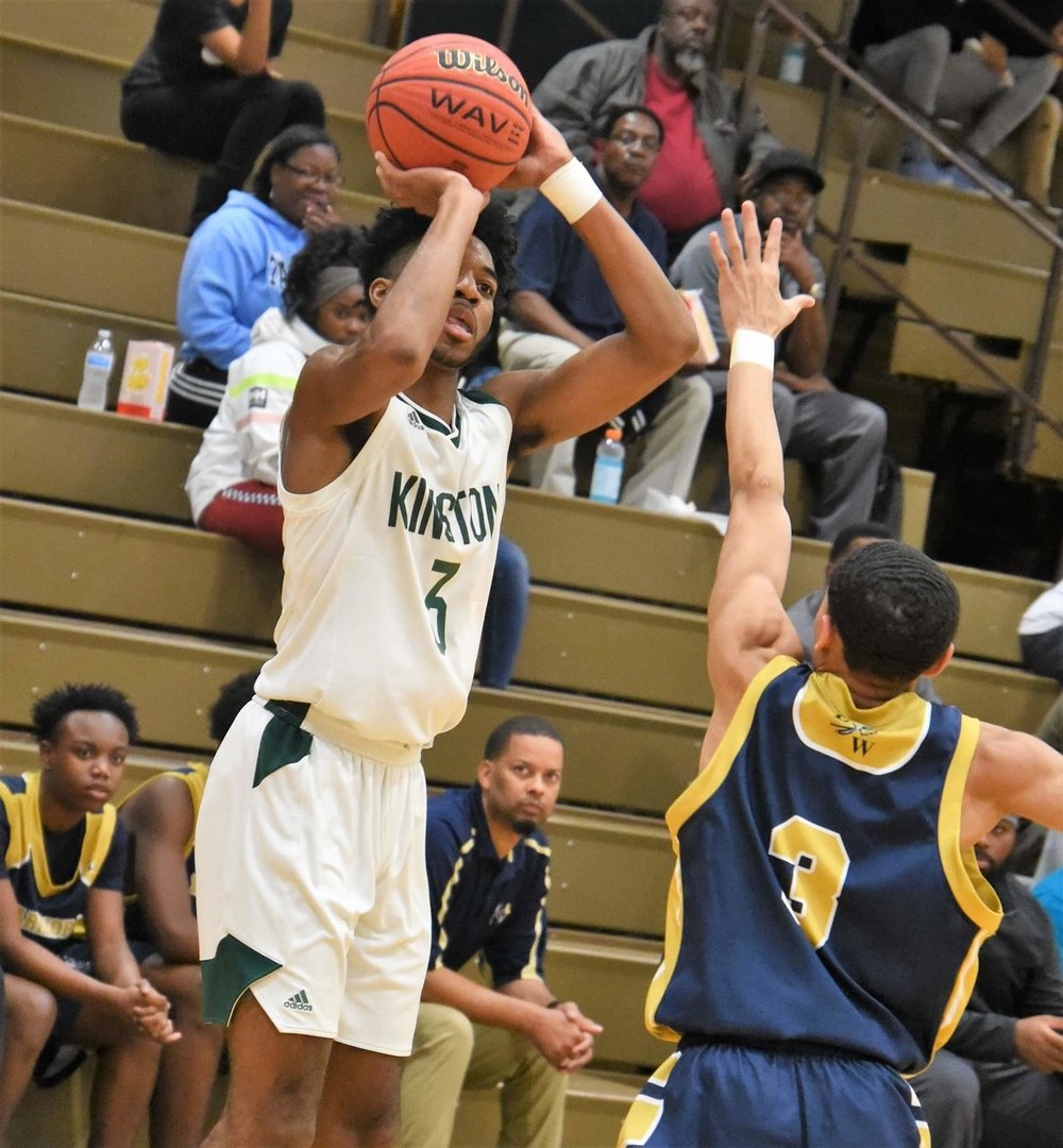 """Dontrez Styles led Kinston with 15 points in Thursday's season-opening win against Eastern Wayne. Photo by William """"Bud"""" Hardy / Neuse News"""