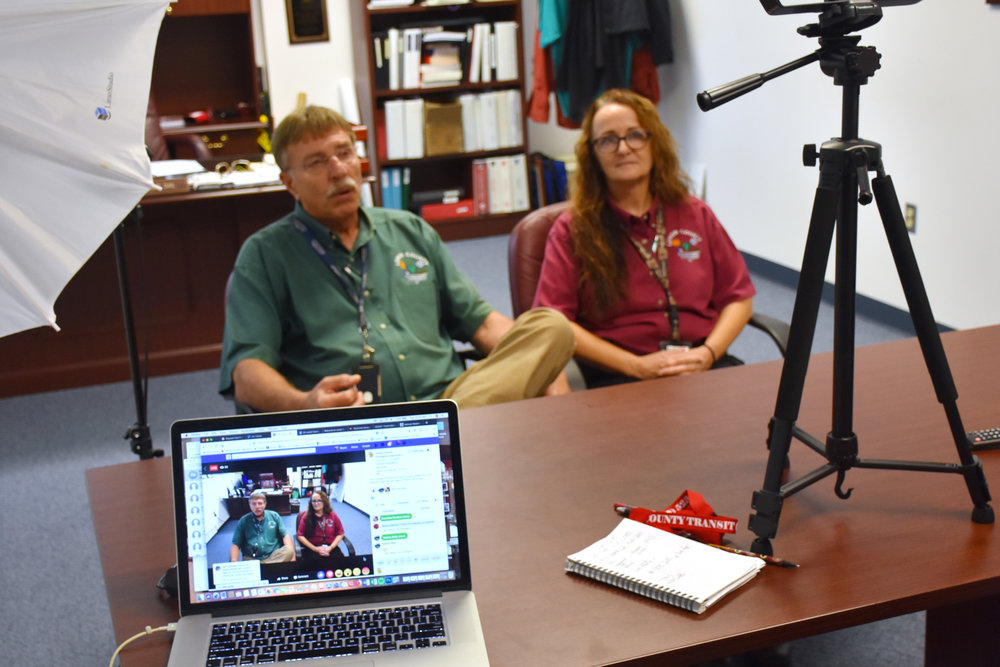 Roger Dail, left, and Jerri King conduct a Facebook Live on the LCES Facebook page on Sept. 25. King will become the interim LCES Director on Jan. 1. Photo by Bryan Hanks / Neuse News