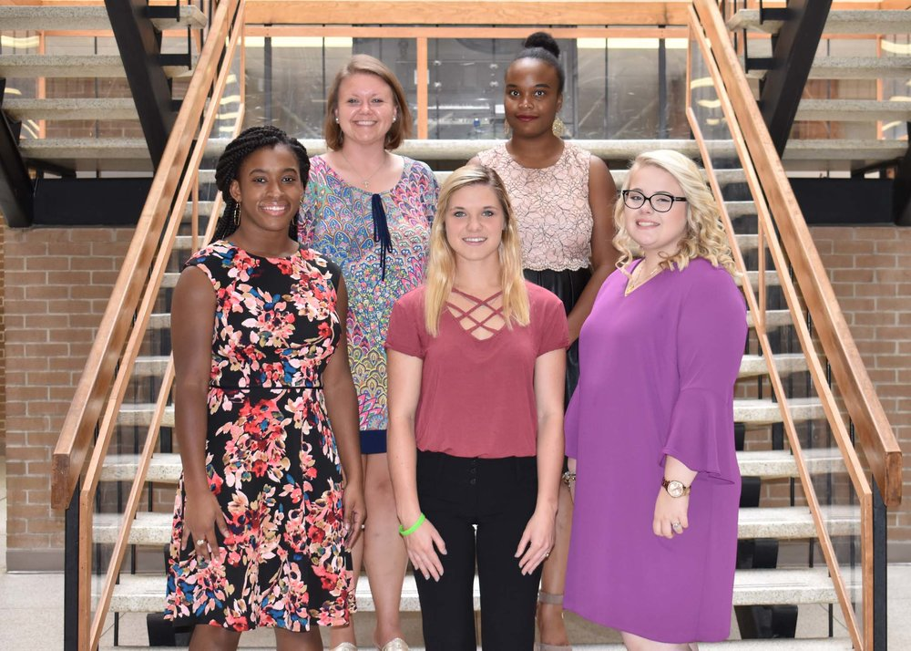 Pictured left to right are Aaliyah S. Wade of La Grange, Eastern North Carolina Bluegrass Association Scholarship; Jensen R. Worthington of Ayden, Lynwood C. and Grace J. Turner Memorial; and Jessi C. Hines of Deep Run, Roland J. and Eleanor L. Jones Scholarship; back row, Samantha Mullins of Kinston, Roy E. and Brenda M. Jones Scholarship; and Alexis Parrish of Kinston, Barnes-St. John Scholarship.