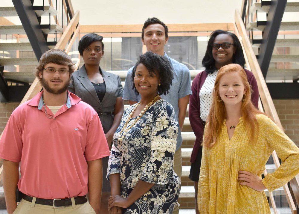Pictured left and right are Jonathan Wade of Snow Hill, Pat and Jim MacNeill Scholarship; Metisia Wooten of Greenville, Nell and Ford Dabney Scholarship; and Jessi Edwards of Beulaville, Kathryne C. Hankins Scholarship; back row, Shantaya Cox of Greenville, Nell and Ford Dabney Scholarship; Dakota Wojeski of Kinston, Jean P. and Peggy Booth Memorial; and Julnesia Hodges of Kinston, Alice Starr Tingle Entrepreneur/Government Leadership Scholarship.