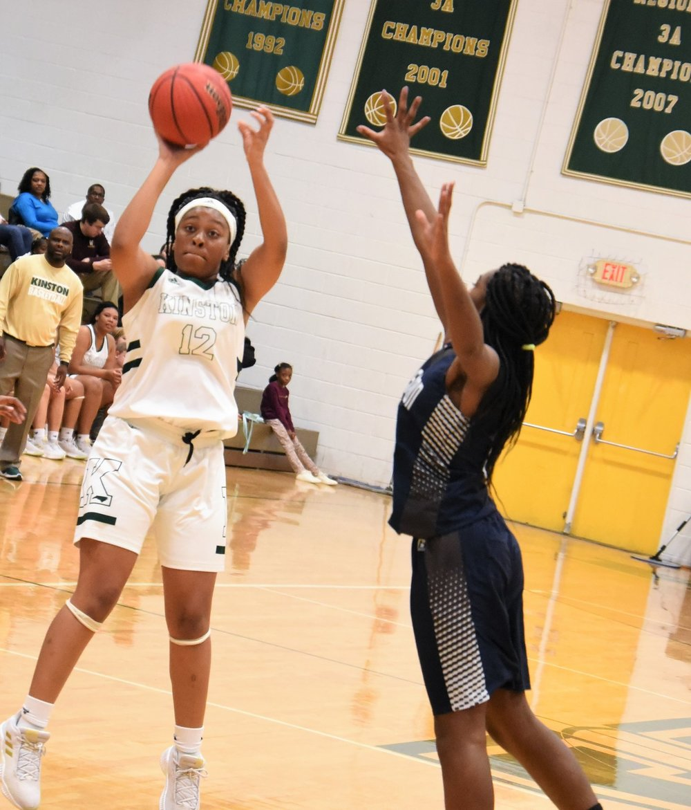 """Quiara Powell added 16 points for the Vikings. Photo by William """"Bud"""" Hardy / Neuse News."""