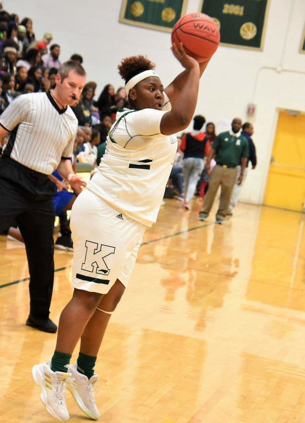 """Kinston's Zykia Andrews hit five 3-pointers in Tuesday's contest with Greene Central. Photo by William """"Bud"""" Hardy / Neuse News"""