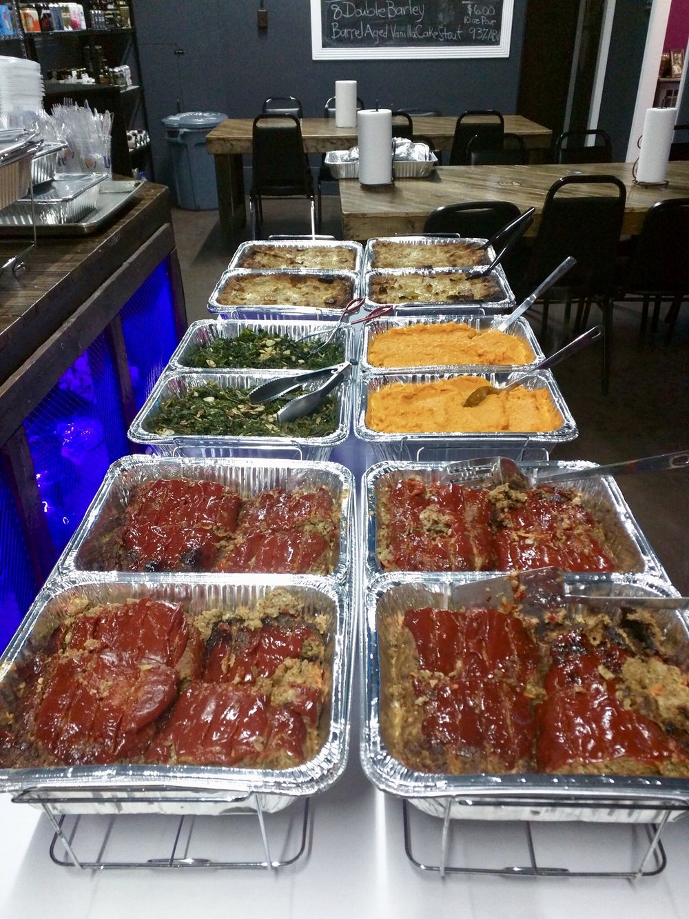 Meatloaf, greens, mashed sweet potatoes, and apple bread pudding ready to be served.  Submitted Photo