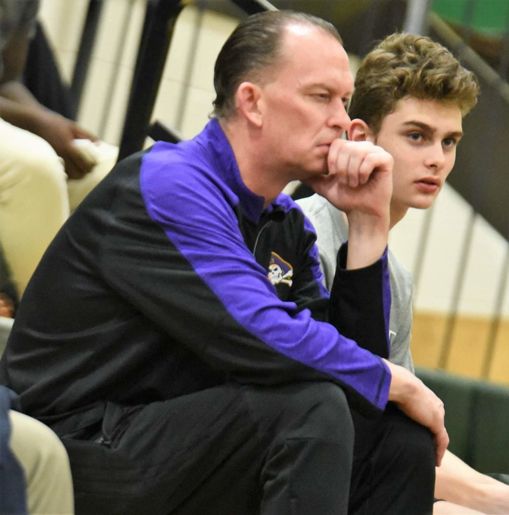 "ECU basketball coach Joe Dooley was on hand to watch Kinston's 94-56 win over Ayden-Grifton Tuesday. Photo by William ""Bud"" Hardy / Neuse News"